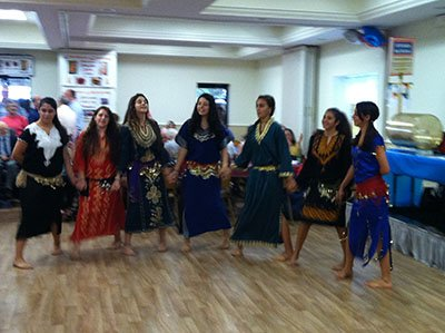 The young ladies of Holy Transfiguration practice traditional Middle Eastern dance for weeks to prepare for their cultural display at the Festival.