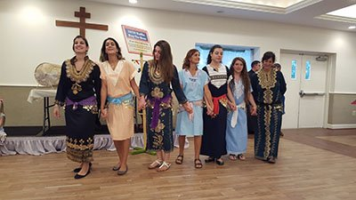 Donned in their beautiful embroidered dresses, Jennette, Randa, Anastasia, Mona, Natalie, Star and Marianne perform a Dabke dancing show for our guests.