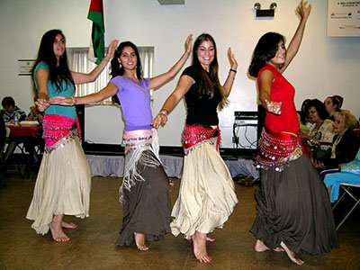 This picture is one that truly will bring smiles and tears to the eyes of Holy Transfiguration parishioners, as it includes Reema (second from left), a shining light who left this world too soon. She and her sister Randa (far right) loved to perform the dabke with Jackie (far left) and Jennette (third from left).