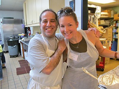 Longtime parishioner Mike and his goddaughter Crystal are always upbeat and undeterred by day-long kitchen tasks!